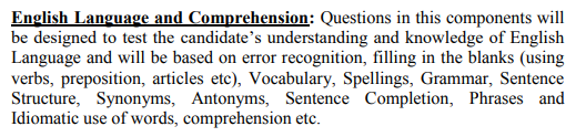 English Language and Comprehension